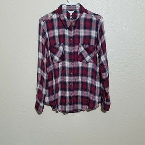 Lucky Brand Plaid Shirt L L/S Loose Fit Buttons